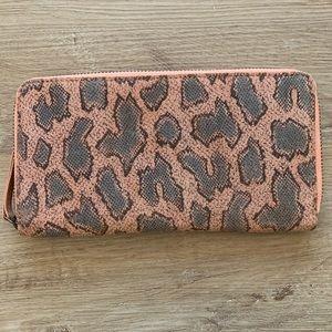 Anthro Riley Leather Metallic Snakeskin Wallet